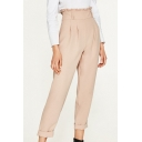 Midi Rise Ruffle Waist Simple Plain Basic Tapered Pants