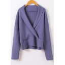 New Stylish Wrap V-Neck Long Sleeve Plain Pullover Sweater