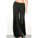 Hot Fashion High Waist Chic Lace Inserted Plain Flare Pants