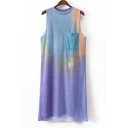 Round Neck Sleeveless Chic Tie Dye Midi Tank Dress with Single Pocket