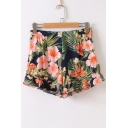 Tropical Style Floral Printed High Waist Loose Culottes Shorts