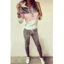 New Fashion Color Block Long Sleeve Hoodie with Drawstring Waist Sports Pants