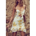 Summer's Lemon Printed Cropped Cami Top with Mini Cake Ruffle Skirt