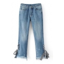 New Fashion Plaids Bandage Side Embellished Fringe Hem Plain Skinny Jeans