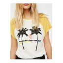 Holiday Color Block Coconut Palm Printed Round Neck Short Sleeve Loose T-Shirt