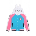 Chic Cartoon Printed Color Block Hooded Long Sleeve Buttons Down Coat