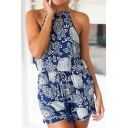 Floral Printed Cut Out Back Halter Neck Holiday Beach Loose Rompers