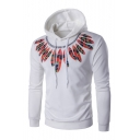 Stylish Feather Pattern Long Sleeve Casual Leisure Unisex Hoodie