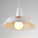 Industrial Hanging Pendant Light with White Flower Pattern Shade for Indoor Lighting