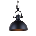 Industrial Hanging Pendant Light Handle Arm with Black Bowl Shade