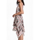 New Fashion Geometric Printed Round Neck Sleeveless Asymmetrical Tank Dress