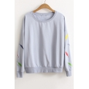 Fashion Feather Embroidered Casual Loose Round Neck Long Sleeve Sweatshirt