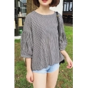 Basic Plaid Pattern Round Neck 3/4 Sleeve Casual Loose Pullover Linen Blouse