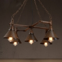 Industrial Cross Pipe Chandelier with Conical Shade 5 Lights