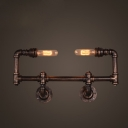 Industrial Retro Wall Sconce with Exposed Edison Bulbs, 21.5'' Width