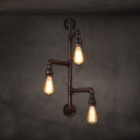 Industrial Pipe Wall Sconce with Bare Edison Bulbs, 3 Lights Downlighting
