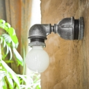 Industrial Wall Sconce in Silver Finish with Bare Edison Bulb, Short Pipe