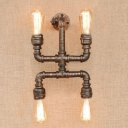 Industrial Loft Robot Pipe Wall Sconce 4 Lights, 10.2'' Height