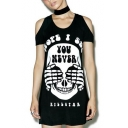Fashion Skull Letter Printed Round Neck Cold Shoulder Short Sleeve Mini T-Shirt Dress