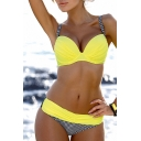 Summer's Color Block Padded Up Sexy Beach Bikini Swimwear