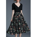 Fashion Floral Printed Plunge Neck Short Sleeve Midi A-Line Dress