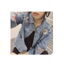 Retro Floral Embroidered Buttons Down Long Sleeve BF Style Denim Jacket