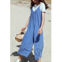 Summer Spaghetti Straps Sleeveless Plain Loose Jumpsuits