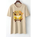 Casual Cartoon Printed Short Sleeve Round Neck Tee