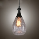 Water Drop Suspension Modernism Clear/Grey/Amber/Copper Glass Single Head Pendant Light