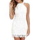 Elegant Sleeveless Halter Neck Plain Lace Mini Pencil Dress