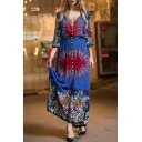 Summer's Holiday Plunge Neck Half Sleeve Tribal Printed Buttons Down Maxi Dress