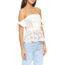 Summer's Sexy Off The Shoulder Bow Tie Sleeve Lace Inserted Trim Plain Blouse