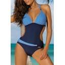 New Trendy Color Block Halter Neck Cut Out Waist One Piece Swimwear