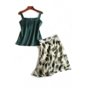 New Arrival Plain Sleeveless Cami Top with Mini Printed Skirt