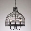 Industrial Candelabra Chandelier with Novelty Bird Lantern Shade in Black