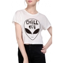 New Collection Alien Printed Round Neck Short Sleeve Cropped T-Shirt