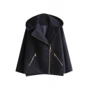 Winter's New Fashion Warm Hooded Long Sleeve Basic Plain Zip Placket Coat