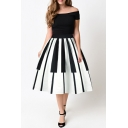 New Fashion Striped Printed High Rise Elastic Waist Midi Flared Skirt