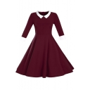 Fashion Contrast Peter Pan Collar Half Sleeve Chic Midi Flared Dress