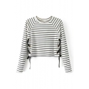 Grommet Lace-Up Side Round Neck Long Sleeve Striped Printed Cropped Sweater