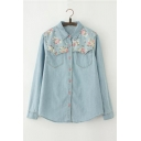 Summer's Floral Pattern Long Sleeve Lapel Collar Buttons Down Chambray Shirt