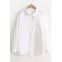 Basic Simple Plain Lapel Collar Long Sleeve Buttons Down Shirt with Single Pocket