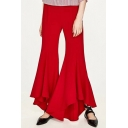 New Arrival Simple Plain High Waist Zip Side Asymmetrical Flared Pants