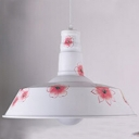 Industrial Single Pendant Light Vintage with Flower Pattern Shade in White