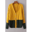 Fashion Color Block V Neck Long Sleeve Buttons Down Knit Cardigan