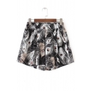 Summer's Peacock Feather Printed Loose Wide Legs Culottes Shorts