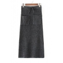 New Arrival Elastic Drawstring Waist Plain Midi Knit Skirt with Double Pockets