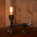 Industrial Vintage Tap Table Lamp in Black Finish, Uplighting