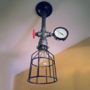 Industrial Wire Cage Shade Semi Flush Mount with Pressure Guage and Valve Accent