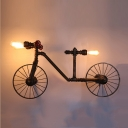 Industrial Creative Bicycle Wall Sconce in Bronze Finish, 3 Lights